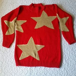 Vintage Melbourne S Red Gold Star Knit Sweater Seq